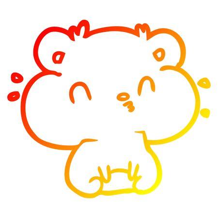 dessin au trait dégradé chaud d'un hamster avec des poches pleines pour les joues