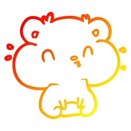 warm gradient line drawing of a hamster with full cheek pouches