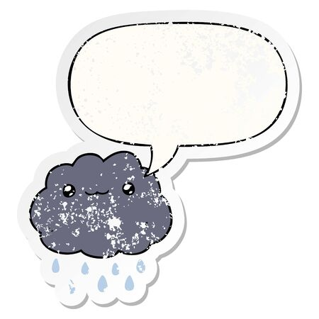cartoon cloud with speech bubble distressed distressed old sticker