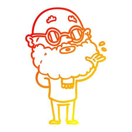 Dibujo de la línea de gradiente cálido de una caricatura hombre curioso con barba y gafas de sol Ilustración de vector