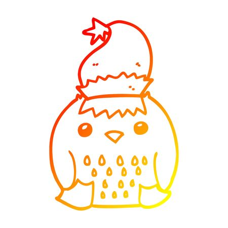 warm gradient line drawing of a cute cartoon owl wearing christmas hat