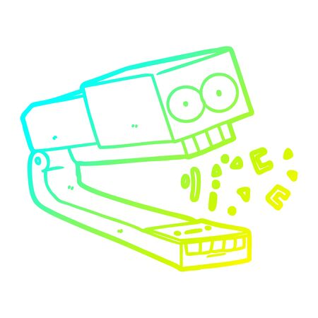 cold gradient line drawing of a crazy cartoon stapler Illustration