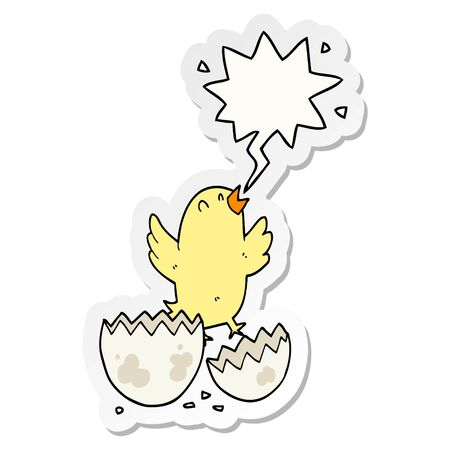 cartoon bird hatching from egg with speech bubble sticker