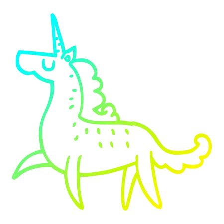 cold gradient line drawing of a cartoon magical unicorn Illustration