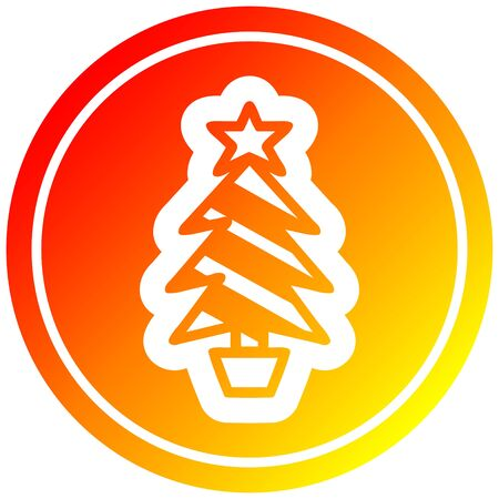 christmas tree circular icon with warm gradient finish