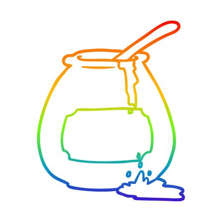 rainbow gradient line drawing of a honey pot