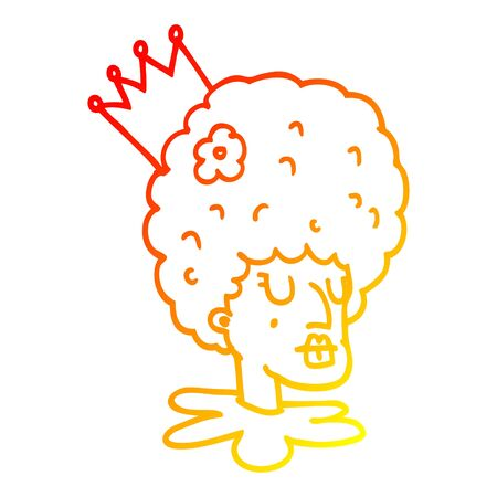 warm gradient line drawing of a cartoon queen in makeup and huge wig 向量圖像