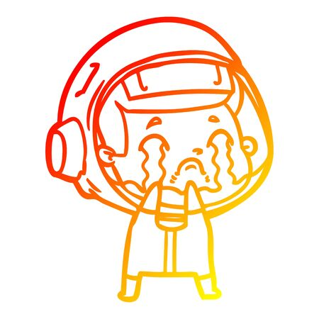 warm gradient line drawing of a cartoon crying astronaut