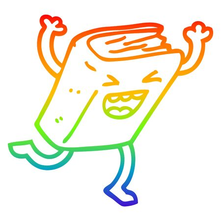 rainbow gradient line drawing of a cartoon dancing book