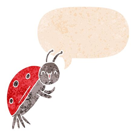 cute cartoon ladybug with speech bubble in grunge distressed retro textured style