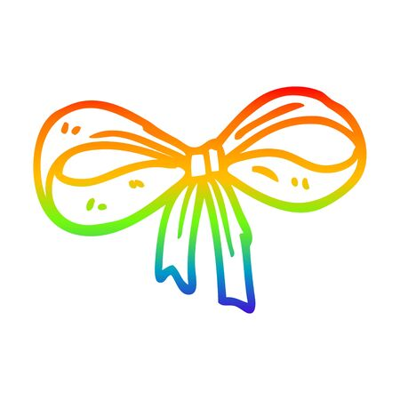 rainbow gradient line drawing of a cartoon tied bow Illustration