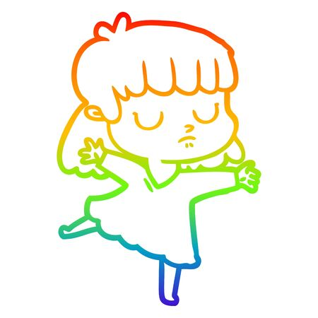 rainbow gradient line drawing of a cartoon indifferent woman Illustration