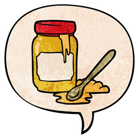 cartoon jar of honey with speech bubble in retro texture style