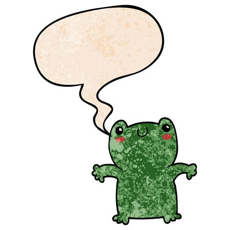 cartoon frog with speech bubble in retro texture style  イラスト・ベクター素材