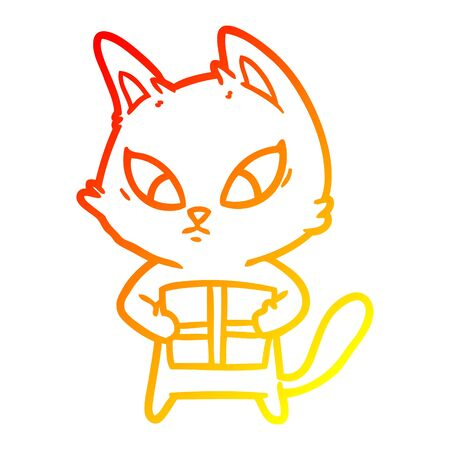 warm gradient line drawing of a confused cartoon cat with gift