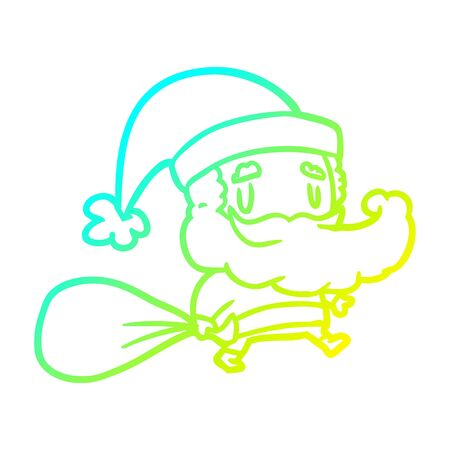 cold gradient line drawing of a santa claus carrying sack of presents