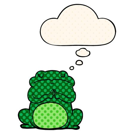 cartoon arrogant frog with thought bubble in comic book style