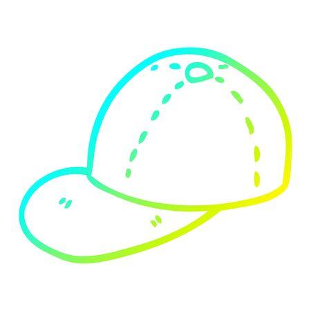 cold gradient line drawing of a cartoon baseball cap