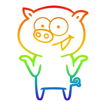 rainbow gradient line drawing of a cartoon pig with no worries