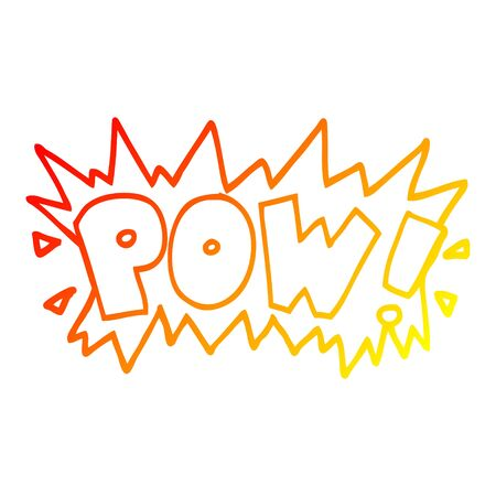 warm gradient line drawing of a cartoon word pow