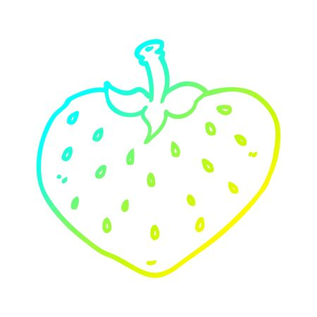 cold gradient line drawing of a cartoon strawberry Ilustracja