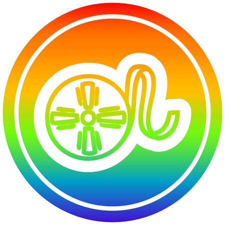 movie film reel circular icon with rainbow gradient finish Ilustração