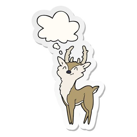cartoon happy stag with thought bubble as a printed sticker 일러스트