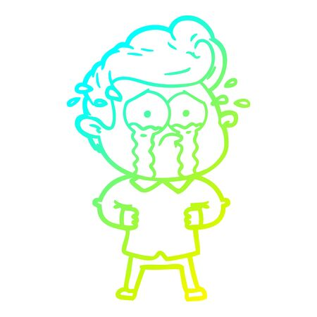 cold gradient line drawing of a cartoon crying man with hands on hips