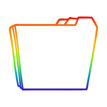 rainbow gradient line drawing of a cartoon business folders Illusztráció