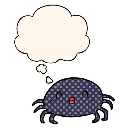 cartoon spider with thought bubble in comic book style 向量圖像