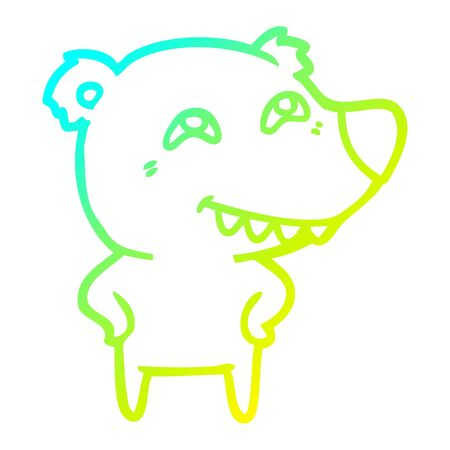 cold gradient line drawing of a cartoon bear showing teeth