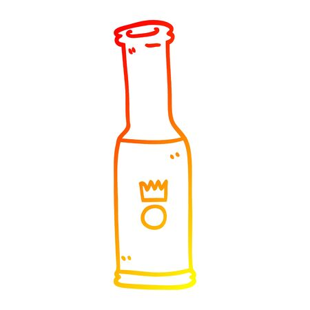 warm gradient line drawing of a cartoon bottle of pop  イラスト・ベクター素材