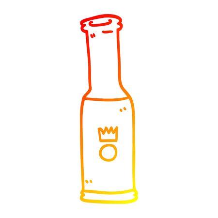 warm gradient line drawing of a cartoon bottle of pop 일러스트