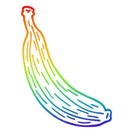 rainbow gradient line drawing of a cartoon yellow banana
