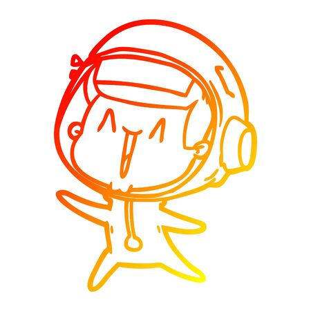 warm gradient line drawing of a happy cartoon astronaut leaping Illustration