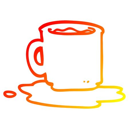 warm gradient line drawing of a cartoon of spilt mug of tea  イラスト・ベクター素材