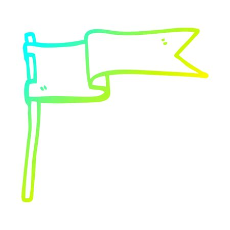 cold gradient line drawing of a cartoon flag waving in wind Illustration