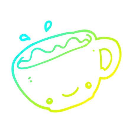 cold gradient line drawing of a cartoon cup of coffee Ilustração