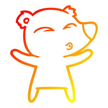 warm gradient line drawing of a cartoon whistling bear with open arms