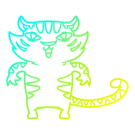 cold gradient line drawing of a happy cartoon tiger