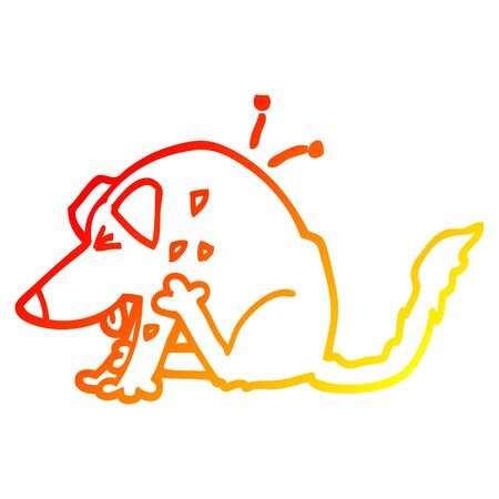 warm gradient line drawing of a cartoon dog scratching Illustration