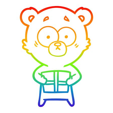 rainbow gradient line drawing of a nervous polar bear cartoon with gift