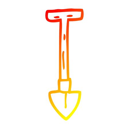 warm gradient line drawing of a cartoon spade 스톡 콘텐츠 - 130299529