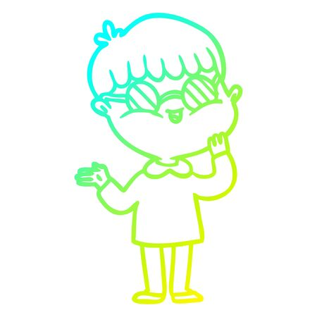 cold gradient line drawing of a cartoon boy wearing spectacles Ilustração