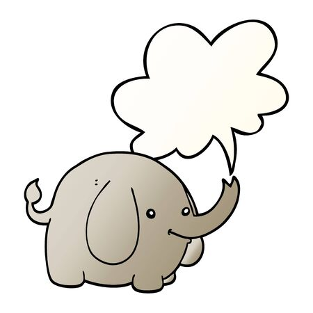cartoon elephant with speech bubble in smooth gradient style
