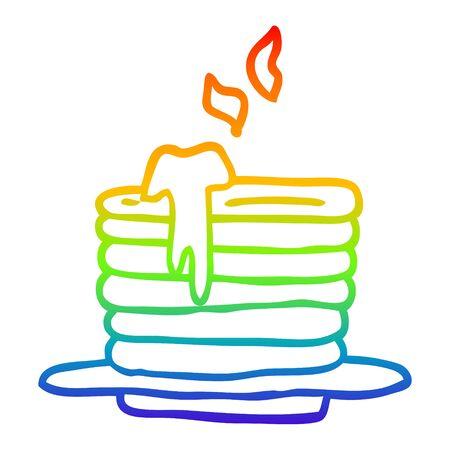 rainbow gradient line drawing of a cartoon stack of pancakes 向量圖像