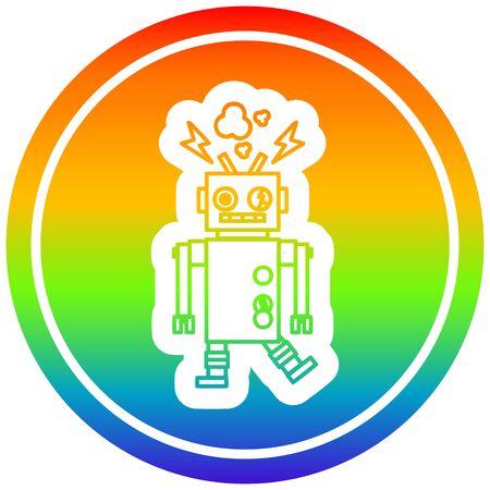 defect cirkelvormig robotpictogram met regenbooggradiëntafwerking