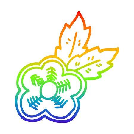 rainbow gradient line drawing of a cartoon rose tattoo symbol