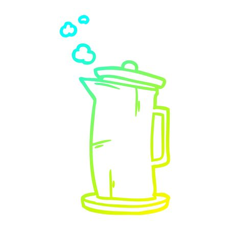 cold gradient line drawing of a old style kettle Illusztráció