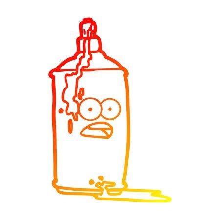 warm gradient line drawing of a cartoon spray paint can Ilustração